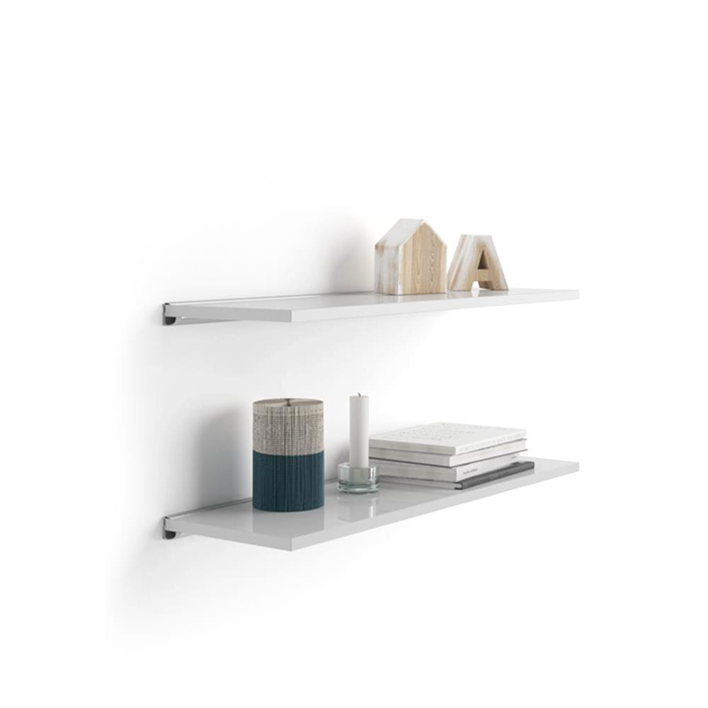 A 60x25 cm Pair of Shelves with an aluminium bracket, Glossy White