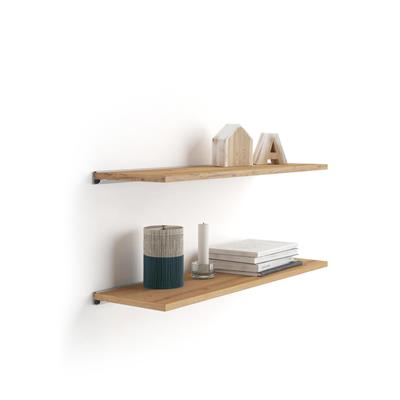 Pair of Evolution Shelves 60x25 cm, Rustic Wood, with grey aluminum support