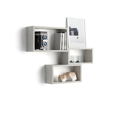 Set of 3 wall-mounted cube shelves, Giuditta, Grey Concrete