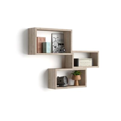 Set of 3 wall-mounted cube shelves, Giuditta, Laminate-faced, Oak