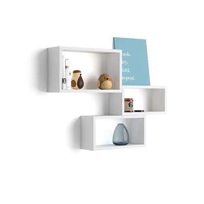Set of 3 rectangular wall cube shelves, Giuditta, White Ash