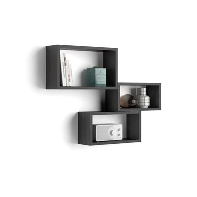 Set of 3 wall-mounted cube shelves, Giuditta, Laminate-faced, Black Ash