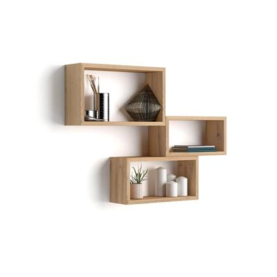 Set of 3 wall-mounted cube shelves, Giuditta, Laminate-faced, Rustic Wood