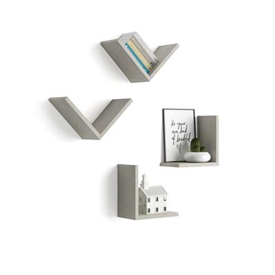 "A Set of 4 ""V""-shaped Shelves, Giuditta, Grey Concrete"