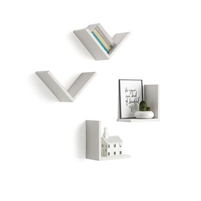 "A Set of 4 ""V""-shaped Shelves, Giuditta, White Ash"