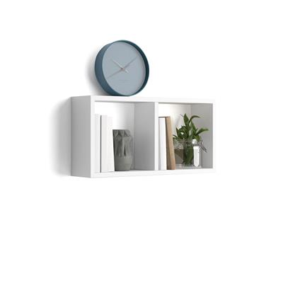 Estante en forma de cubo, modelo First, de MDF, color blanco brillante
