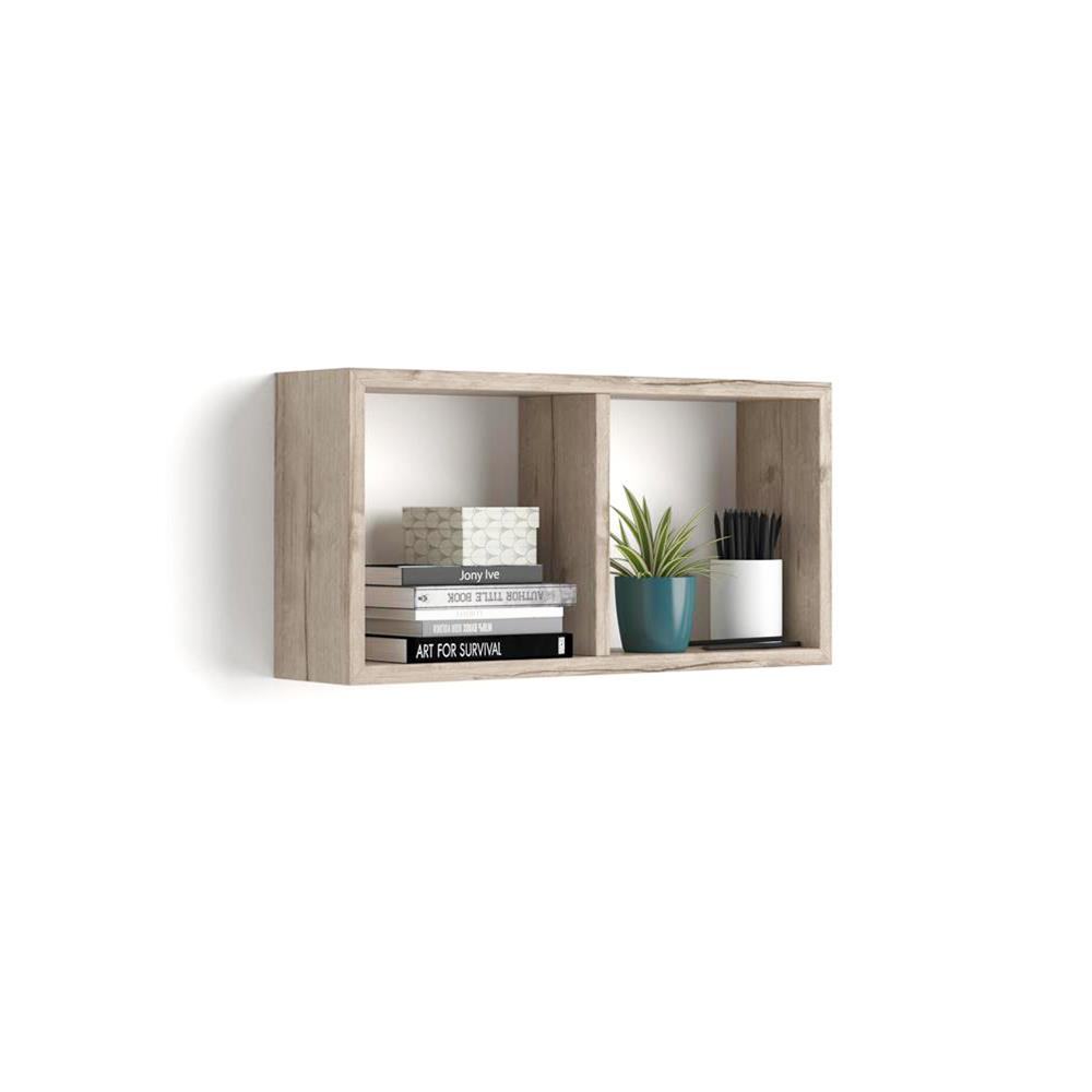 Wall-mounted cube shelves, First, Laminate-faced, Oak