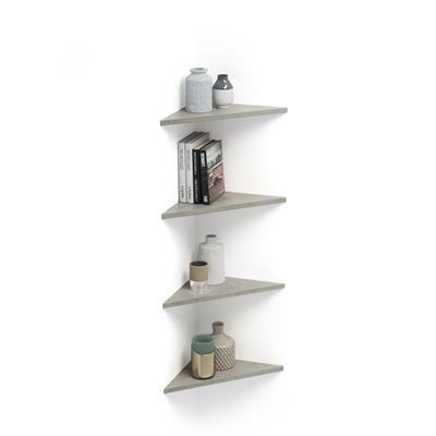 Set of 4 Corner Wall shelves Easy, Grey Concrete