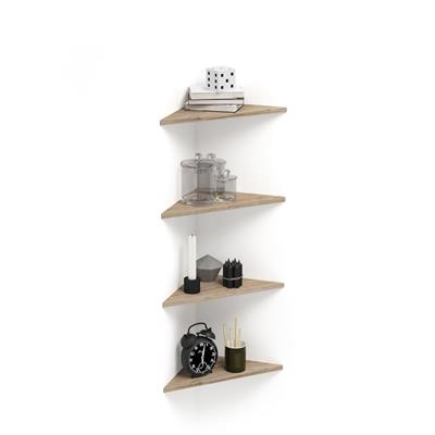 Set of 4 Corner Wall shelves Easy, Oak