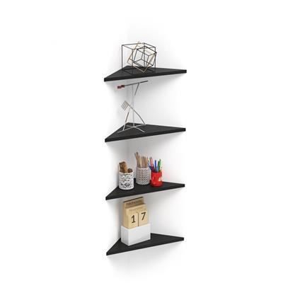 Set of 4 Corner Wall shelves Easy, Black Ash