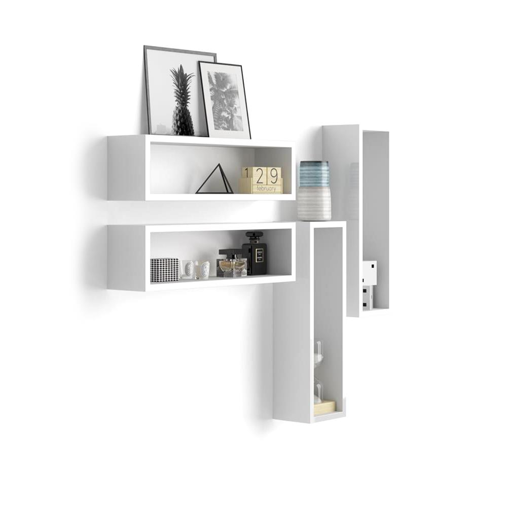 Set of 4 wall-mounted cube shelves, Iacopo, Laminate-faced, Glossy White