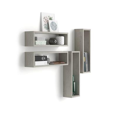 Set of 4 wall-mounted cube shelves, Iacopo, Laminate-faced, Grey Concrete