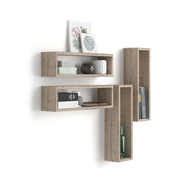 Set of 4 wall-mounted cube shelves, Iacopo, Laminate-faced, Oak