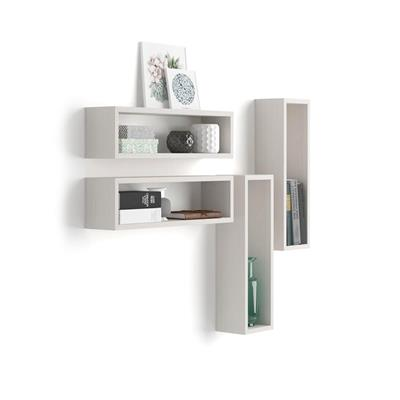 Set of 4 wall-mounted cube shelves, Iacopo, Laminate-faced, White Ash
