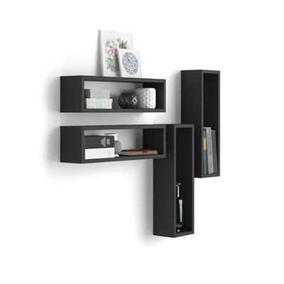 Set of 4 wall-mounted cube shelves, Iacopo, Laminate-faced, Black Ash