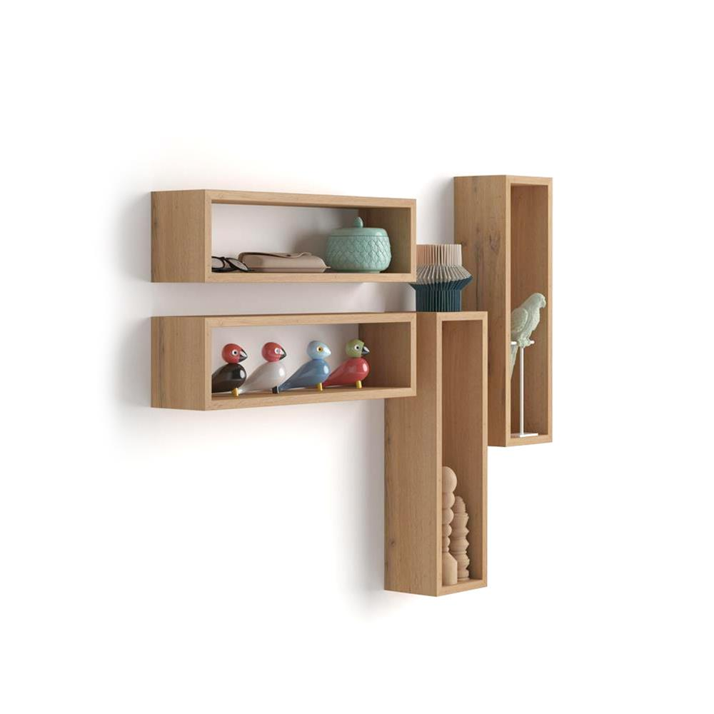 Set of 4 wall-mounted cube shelves, Iacopo, Laminate-faced, Rustic Wood