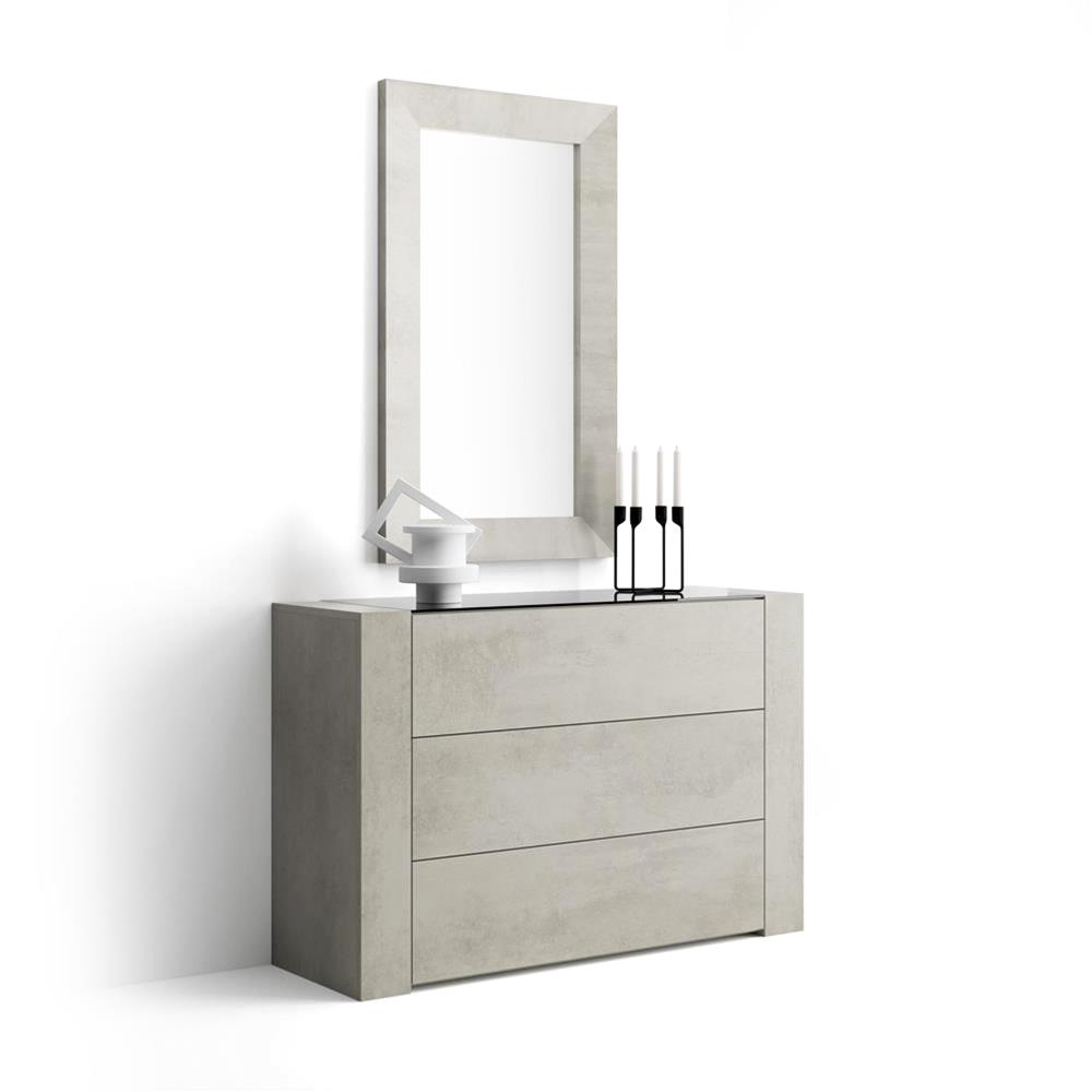 Sideboard with glass top, Iacopo, Grey Concrete