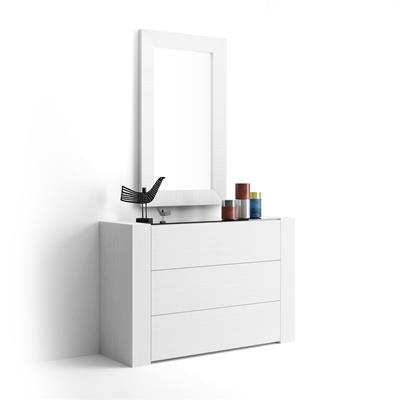 Sideboard with glass top, Iacopo, White Ash