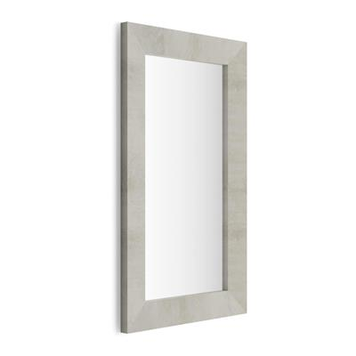 Rectangular wall-mounted mirror, Grey Concrete effect frame, Giuditta 110x65