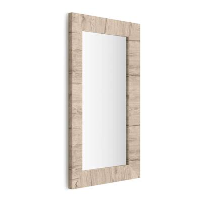 Rectangular wall-mounted mirror, Oak frame, Giuditta 110x65