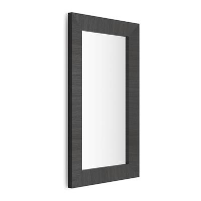 Rectangular wall-mounted mirror, Black Ash frame, Giuditta 110x65
