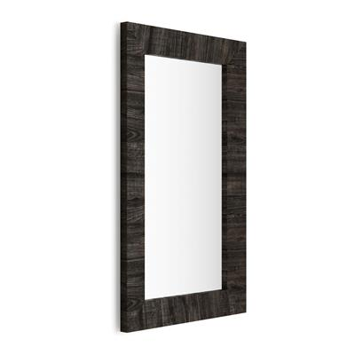 Rectangular wall-mounted mirror, Brown Oak frame, Giuditta 110x65