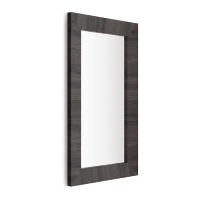 Rectangular wall-mounted mirror, Dark Oak frame, Giuditta 110x65