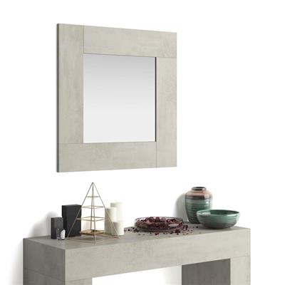Square wall-mounted mirror, Evolution, Grey Concrete