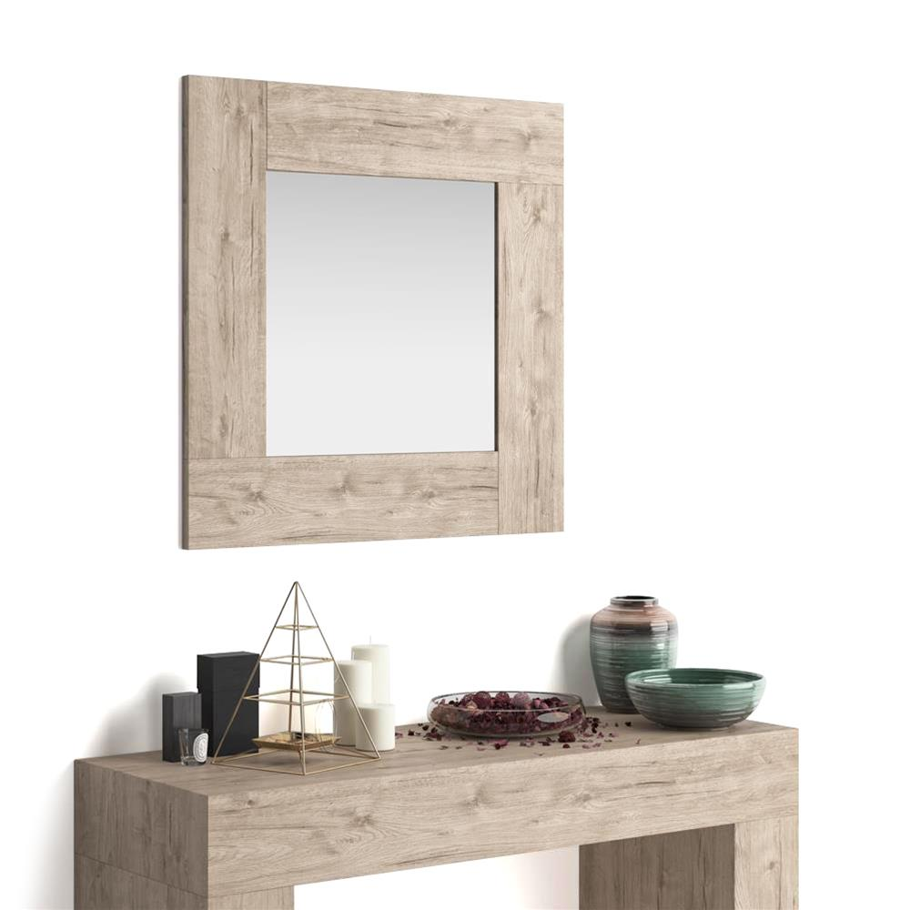 Square wall-mounted mirror, Evolution, Oak