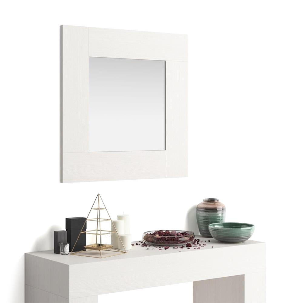 Square wall-mounted mirror, Evolution, White Ash