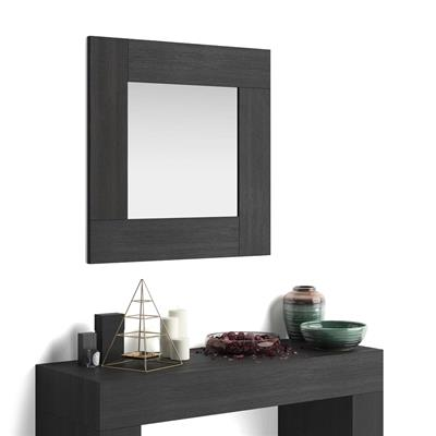 Square wall-mounted mirror, Evolution, Black Ash