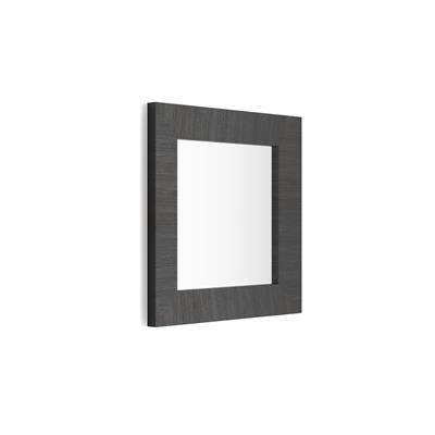 Square wall-mounted mirror, Black Ash frame, Giuditta 65x65