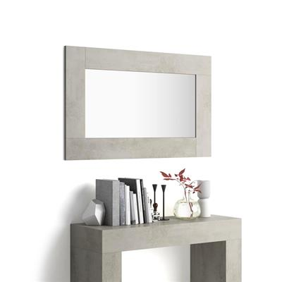Rectangular wall-mounted mirror, Grey Concrete effect frame, Evolution