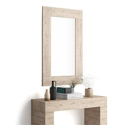 Rectangular wall-mounted mirror, Oak effect frame, Evolution