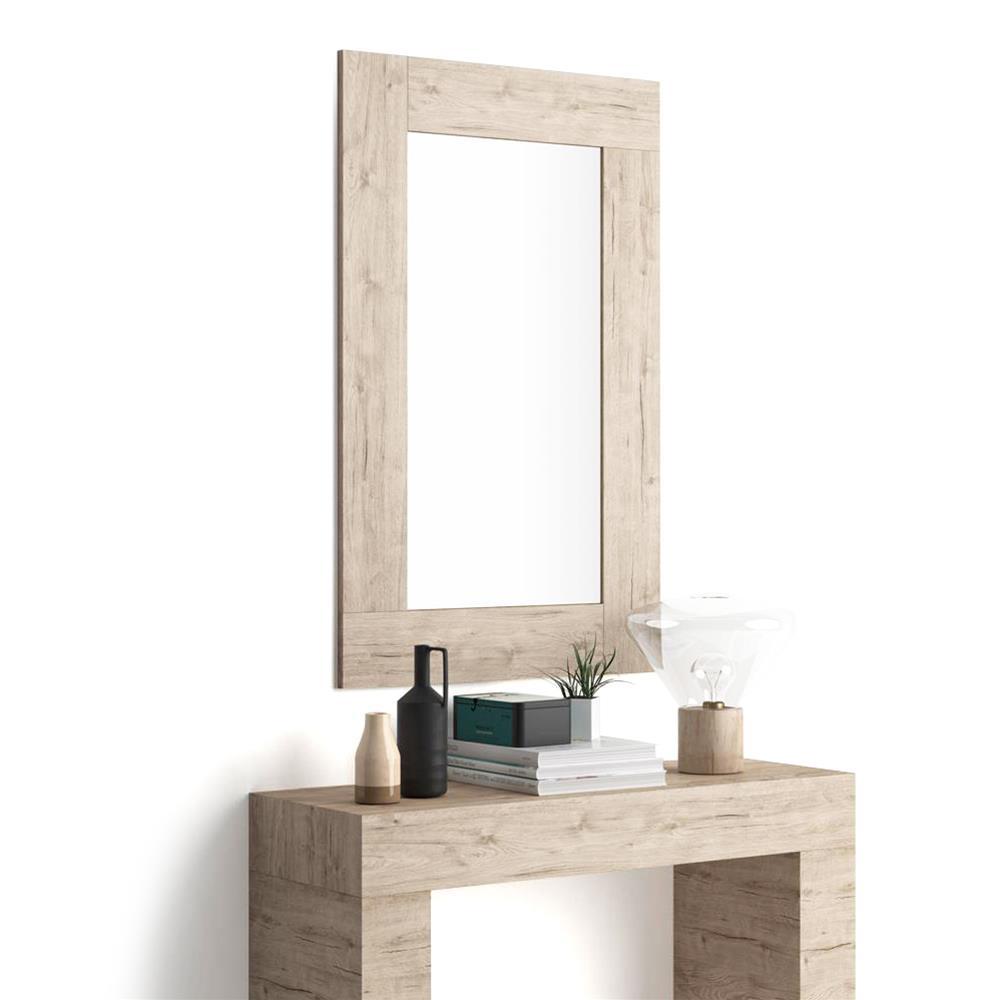 Miroir mural rectangulaire cadre ch ne naturel evolution mobili fiver for Miroir rectangulaire mural