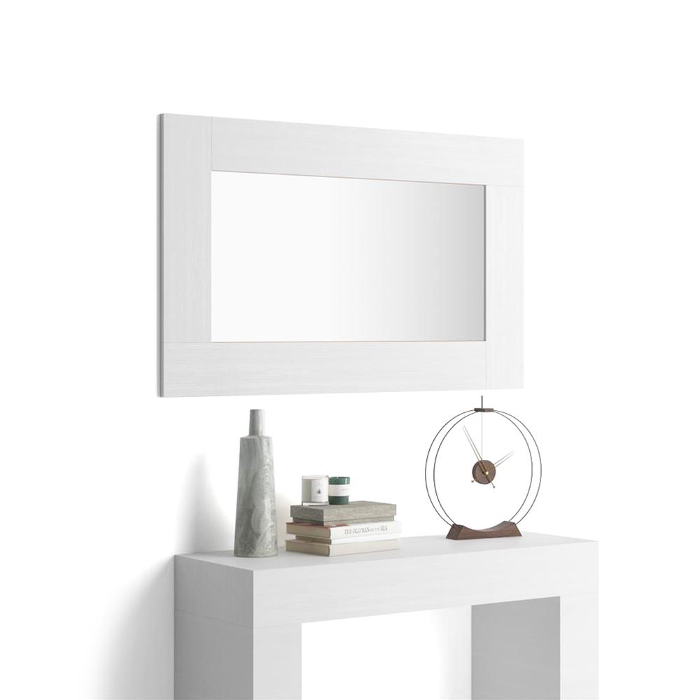Rectangular wall-mounted mirror, White Ash effect frame, Evolution