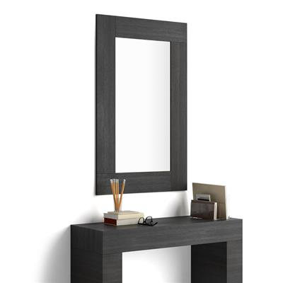 Rectangular wall-mounted mirror, Black Ash effect frame, Evolution