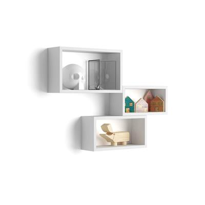 Set of 3 wall-mounted cube shelves, Giuditta, Laminate-faced, opaque white