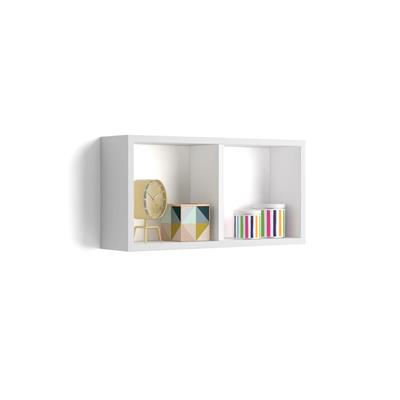 Estante en forma de cubo 59x30 cm, modelo First, de MDF, color blanco mate