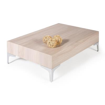 Coffee table, Evolution 90 Chrome, Pearled Elm