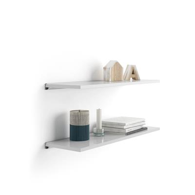 Pair of Evolution Shelves 80x15 cm, Glossy White, with grey aluminum support
