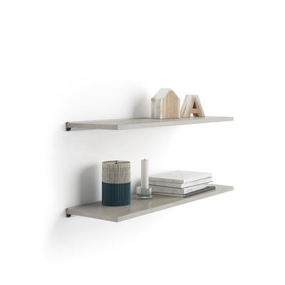 Pair of Evolution Shelves 80x15 cm, Grey Concrete, with grey aluminum support