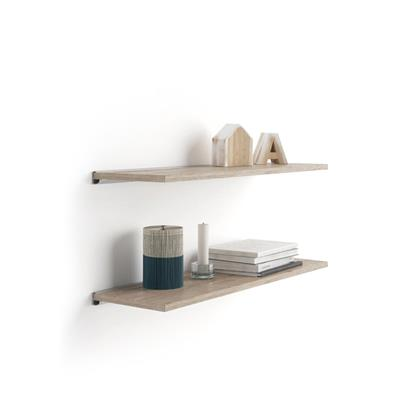 Pair of Evolution Shelves 80x15 cm, Natural Oak, with grey aluminum support