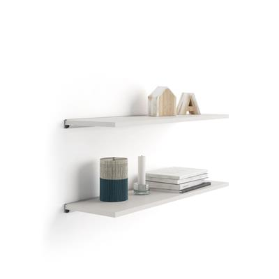 Pair of Evolution Shelves 80x15 cm, White Ash, with grey aluminum support