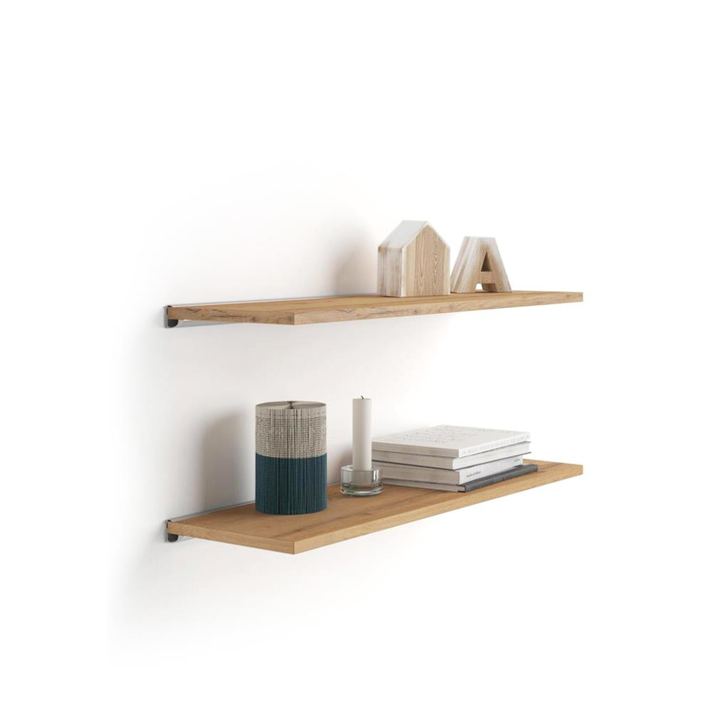 A 80x15 cm Pair of Shelves with an aluminium bracket, Rustic Wood