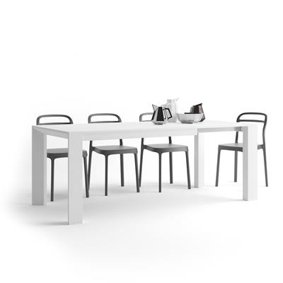 Extendable Kitchen Table Giuditta, White Ash