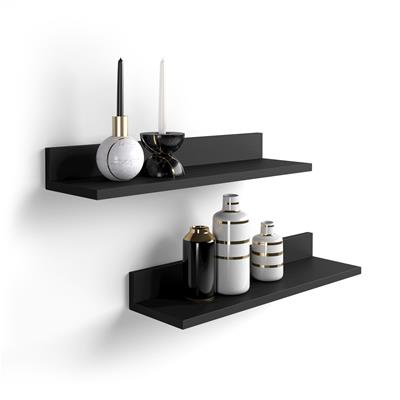 A pair of shelves Rachele, Black Ash