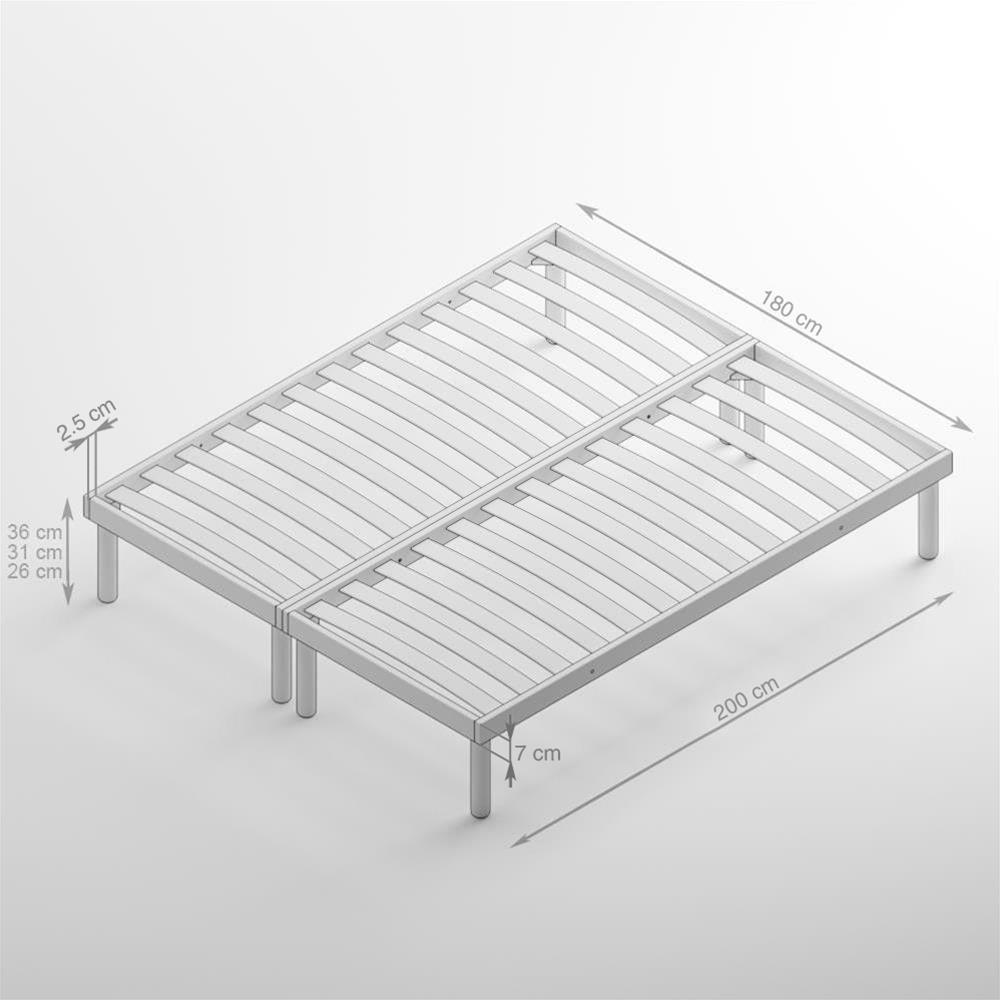 Bedombouw 180 Bij 200.180 X 200 Cm 26 H Wooden Slatted Double Bed Frame Mobili Fiver