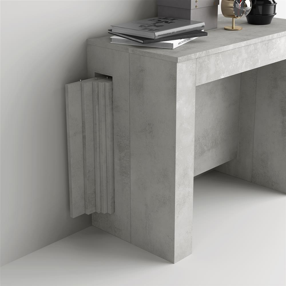 Extendable Console Table with extension holder, Easy, Grey Concrete