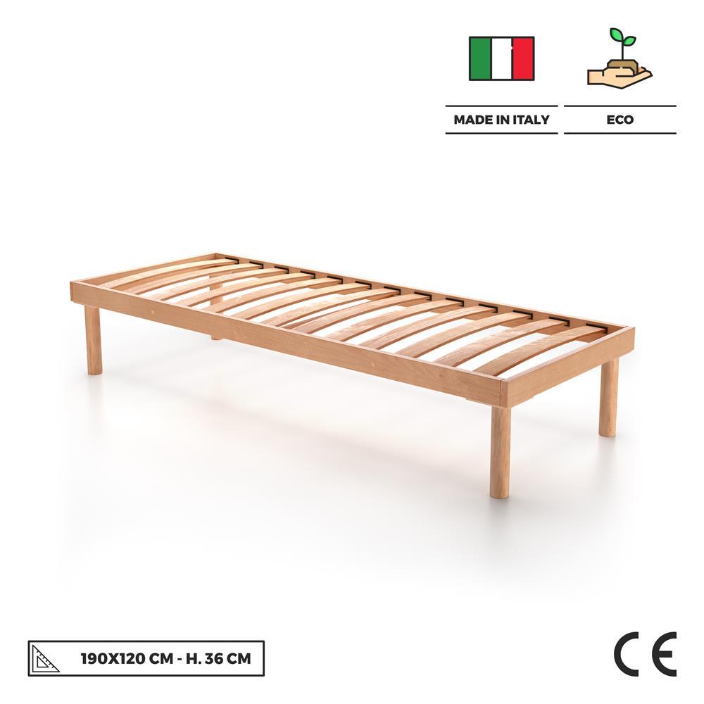 Letto Una Piazza E Mezza 120x190.Rete A Doghe In Legno Piazza E Mezza 120x190 Altezza 36 Cm